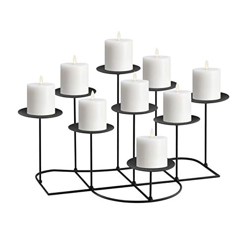 NiceAI Candle Holders for Candlesticks Modern Fireplace Candelabra Wedding Decoration Candle Stands for Flameless Candles Table Centerpiece Sturdy Iron DIY Pack of 9 Black