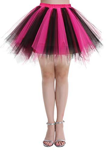 Dressystar Falda de tutú de tul para mujer de la década de los años 50 (15 colores), Primavera-Verano, Asimétricos, Mujer, color Negro Fucsia, tamaño 40