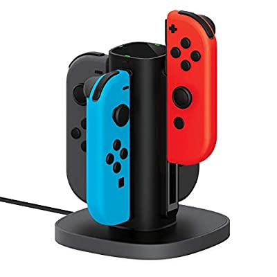 Joy Con Charging Dock for Nintendo Switch by TalkWorks   Docking Station Charges up to 4 Joy-Con Controllers Simultaneously - Controllers NOT Included (Black) from MAP 140(Talkworks)