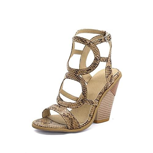 Sandalia Delicada,Sandalias de una Sola Cadena, Medio con Zapatos de Mujer.-marrón_37,Sandalias con Tira al Tobillo