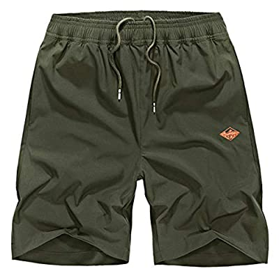 EXEKE Men's Quick Dry Shorts Lightweight Hiking Shorts Gym Workout Shorts Zipper Pockets 252-Army Green/tag:5XL