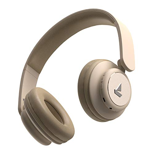 boAt Rockerz 450 On-Ear Headphones with 15 Hours Battery, 40mm Drivers, Padded Ear Cushions, Easy Access Controls and Voice Assistant(Hazel Beige)