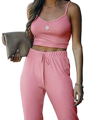 Sweat Suits Two-Pieces Jogger Sets - Crop Tank Tops Sweatpants Set Sleeveless Lounging Outfits for Women Sexy Summer Outfits Casual