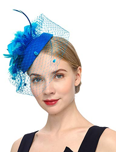 Cizoe Fascinators for Women Pillbox Hat Bowler Feather Flower Veil Wedding Party Hat Tea Hat 20s 50s Headwear(blue)