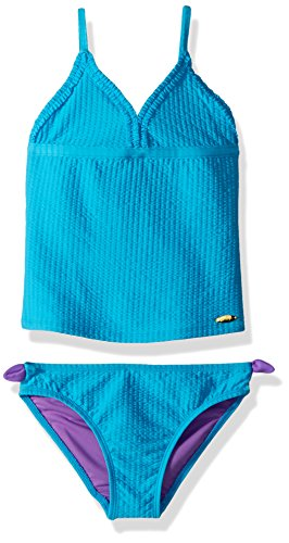 Jessica Simpson Girls' Little Two-Piece Tankini Swimsuit Set, Turquoise, 4