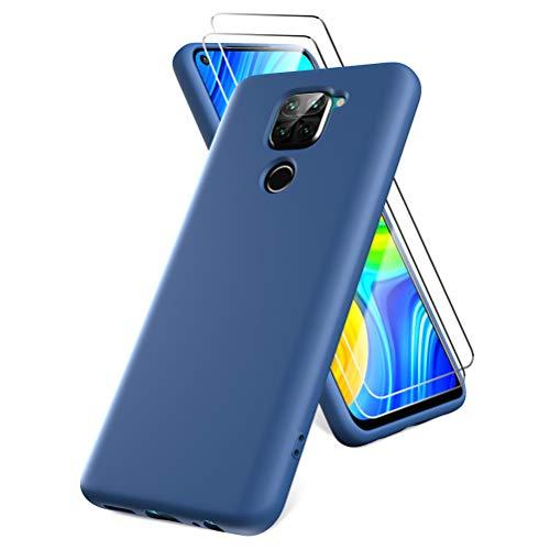 Oududianzi Funda para Xiaomi Redmi Note 9, Protector Pantalla Cristal Templado, Carcasa de Silicona Líquida Gel Ultra Suave Funda con tapete de Microfibra Anti-Rasguño - Azul