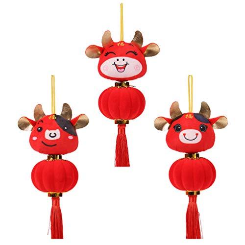Holibanna 3Pcs Neujahr Ochsenpuppe Ornament Chinesische Neujahr Tierkreis Tier Anhänger Plüsch Rinder Laterne Spielzeug Kuh Glückspuppe Figur für Weihnachtsgeschenk Baum Dekor Rot