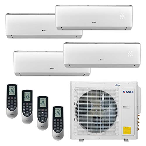 Gree MULTI30CVIR402-30,000 BTU Multi21+ Quad-Zone Wall Mount Mini Split Air Conditioner Heat Pump 208-230V (9-9-12-12)