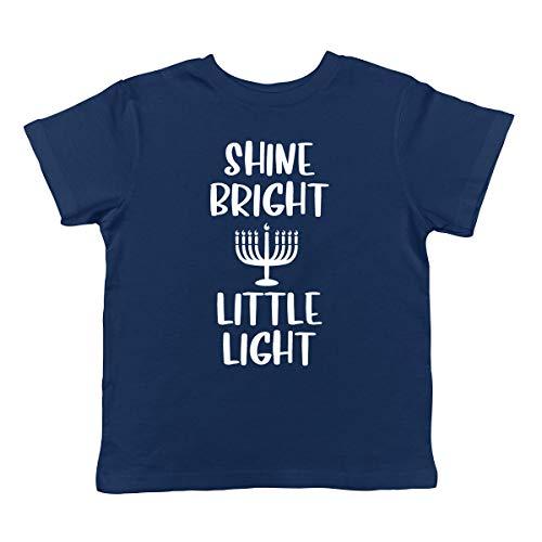 SpiritForged Apparel Shine Bright Little Light - Menorah Hanukkah Jewish Infant T-Shirt, Navy 18 Months