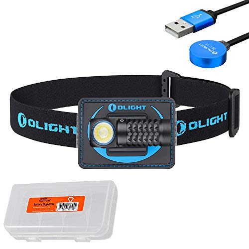 Olight Perun Mini 1000 Lumen Rechargeable Headlamp, also a right angle edc flashlight, with LumenTac battery case