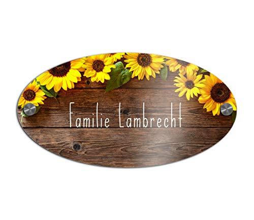 Elegant deurbordje met naam voor de huisdeur | naambordje brievenbus, zelfklevend of met boorgaten, belbord met krasbestendige UV-opdruk | afmetingen 23 x 12 cm kleurrijke deurbordjes