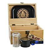 "Infinite Depths - Inhale/exhale Stash Box Combo | Premium - 2 3/8"" Full Size Titanium 4 Part Herb Grinder - Glass stash jar | Wood Bamboo Box - Smell Proof and Airtight Meditation design | Gift Set"