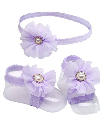 'Petals' Lavender Barefoot Baby Sandal and Headband Set with Flower Accent and Gift Boxed for Baby Girl Gift
