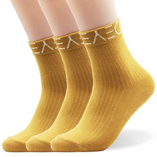 Seoulmade Socken Damen 35-39 I Premium Qualität 3 Paar Streetwear Tennissocken Set in Gelb I Coole Gelbe Fusselfreie Frauen Sneaker Sportsocken