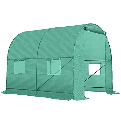 Outsunny Invernadero de Jardín para Cultivo de Plantas Tunel Invernadero Huerto Color Verde Acero Polietileno PE 245x200x198 cm