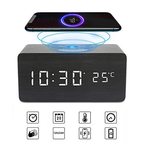 Digitale wekker Bureau Houten Achort LED Draadloos Opladen Wekkers met dag/datum/temperatuur Instelbare helderheid USB/Batterijvoeding voor thuis Slaapkamers Kantoor Kinderen