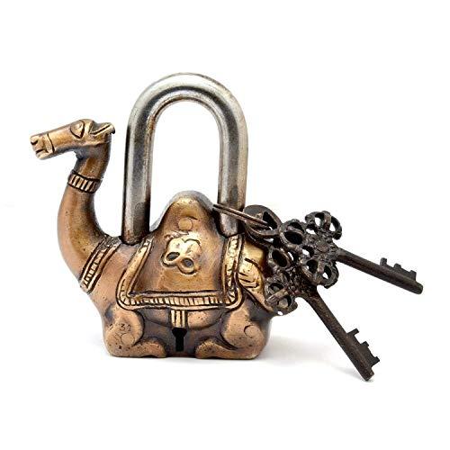 PARIJAT HANDICRAFT Functional Brass Beautiful Padlocks with Two Keys (Camel-Golden)