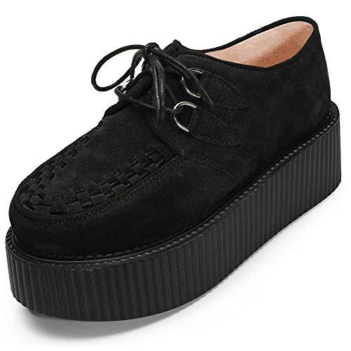 YORWOR Plataformas con Cordones para Mujer Punk Creepers Zapatos de Cuña 5cm Plataforma Liviana Botas Negro EU 37