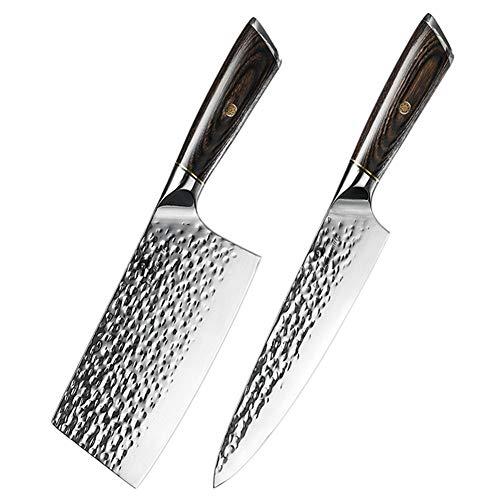 2 piezas de vegetal de cocina del cuchillo de cocina de acero forjado 5Cr15 inoxidable Utilidad de cuchillos del cocinero chino Cleaver rebanar Chef Juego de cuchillos (Color : 2PCS Knife Set)