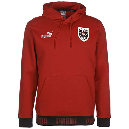 Puma ÖFB Austria FtblCulture EM 2021 - Sudadera con capucha para hombre, rojo/blanco, large