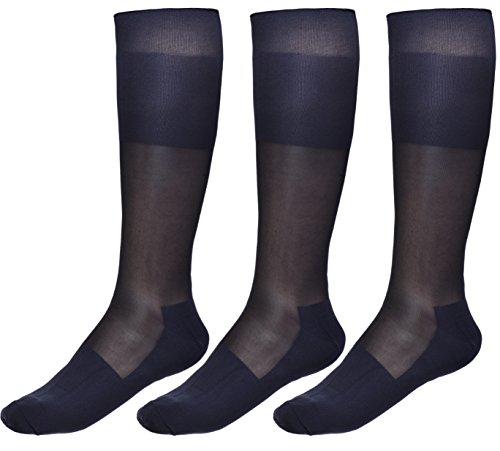 Cityelf - Calcetines de vestir finos para hombre, de seda, para pantalones, vestido de esmoquin a mediados de la pantorrilla, 3 paquetes - - talla única