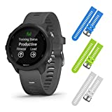Garmin Forerunner 245 GPS Running Smartwatch with Included Wearable4U 3 Straps Bundle (Slate Grey 010-02120-00, Blue/Lime/White)