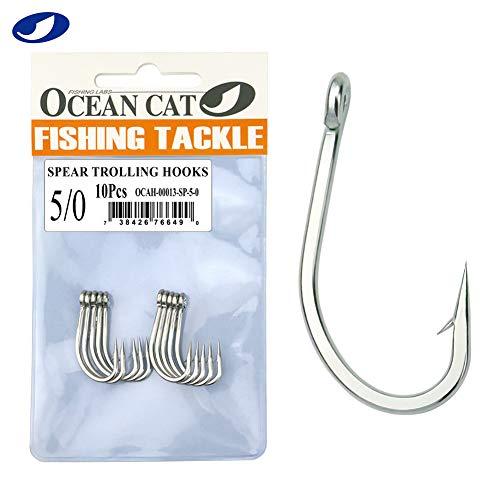 OCEAN CAT Classic Stainless Steel Fishing Hook Short Long Shank Barbed...