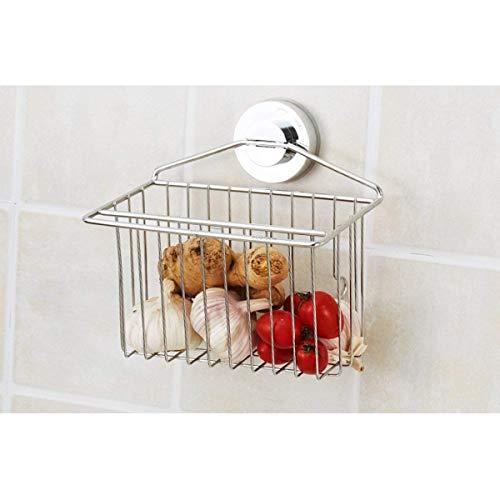XIUYU Shelves Premier Housewares Suction Cup Shelf Storage Basket,Kitchen Stainless Steel Soap Dish Sponge Holder Flower Pot Rack