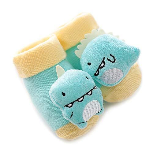 JIELI Meias antiderrapantes para bebês recém-nascidos, meias de algodão com sinos para bebês e meninas, meninos, botas fofas macias, Dinossauro, 0-6 meses