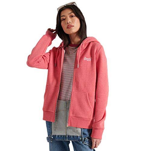 Superdry Womens W2010742A Hooded Sweatshirt, Coral Marl, XL