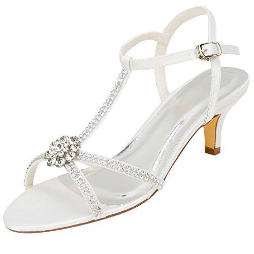 Emily Bridal Zapatos de Novia de Marfil de Seda Elegante pedrería con...
