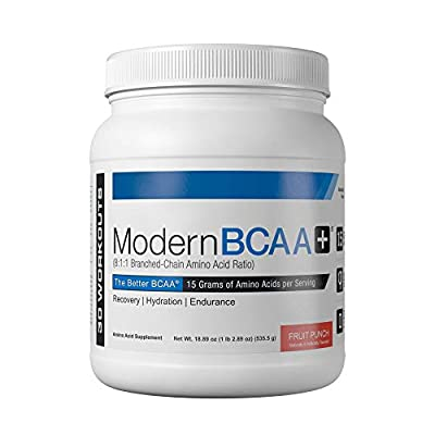 Modern BCAA+ Essential Amino Acid (EAA) Branched Chain Amino Acid (BCAA) Muscle Recovery Supplement Powder Drink Mix, Fruit Punch - 30 Servings