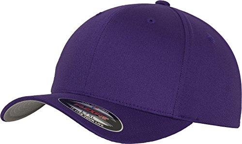 Flexfit Unisex Baseball Cap Wooly Combed, Kappe ohne Verschluss für Herren, Damen und Kinder, Farbe purple, Größe XXL