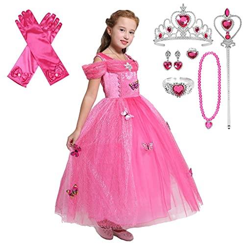 Lito Angels Disfraz de Princesa Aurora con Mariposa y Accesorios para Niña, Vestido de Fiesta de Bella Durmiente, Talla 4 años, Rosa Caliente
