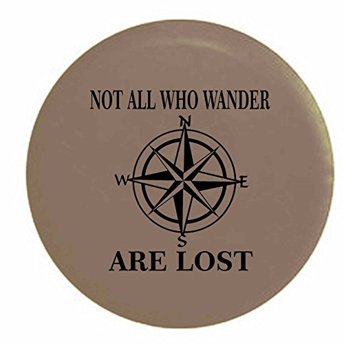 Pike Not All Who Wander are Lost Compass Star Trailer RV Spare Tire Cover OEM Vinyl Tan 27.5 in