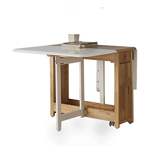 N/Z Daily Equipment 1.35M Dining Table Folding Drop Leaf Butterfly Solid Wooden Kitchen Furniture Natural Solid C (Color : White+Wood)