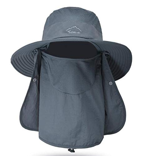 Fishing Hat for Men & Women, Outdoor UV Sun Protection Wide Brim Hat with Face Cover & Neck Flap Dark Grey