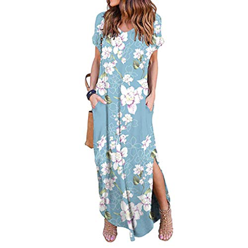 Dress for Women Plus Size,Ladies Summer Cotton and Linen Dress Casual Loose T-Shirt Dress