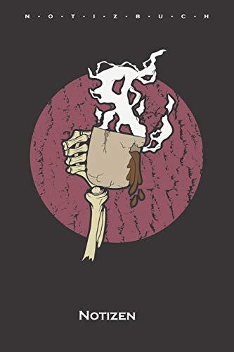 Skeletthand mit Kaffee Notizbuch: Punkteraster Notizbuch für Feinschmecker und Kaffeesüchtige