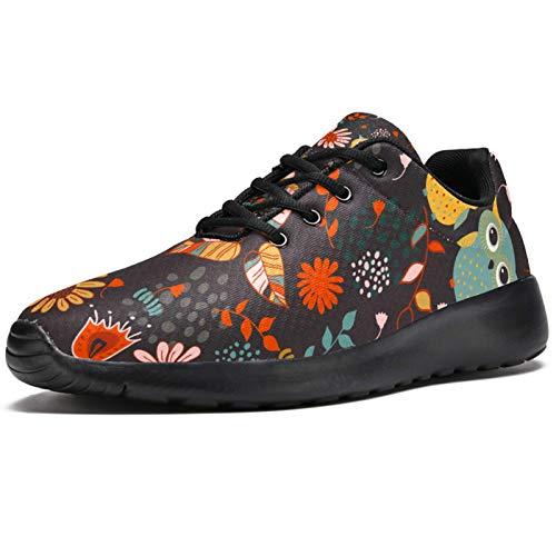 Zapatillas deportivas para correr para mujer, diseño de búho, de malla, transpirables, para caminar, senderismo, tenis, color, talla 38 EU