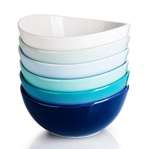 Sweese 103.003 Suppenschale 6er Set aus Porzellan, Füllmenge 800 ml, Müslischale, Snackschale, Salatschale, Blaue Serie
