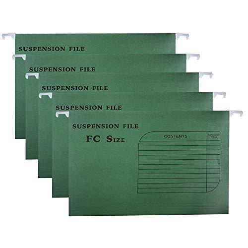zunboo 10 stuks hangmappen klassiek versterkt A4 voor lade kast, met legplanken en vakken voor mappen, meerkleurig Groen