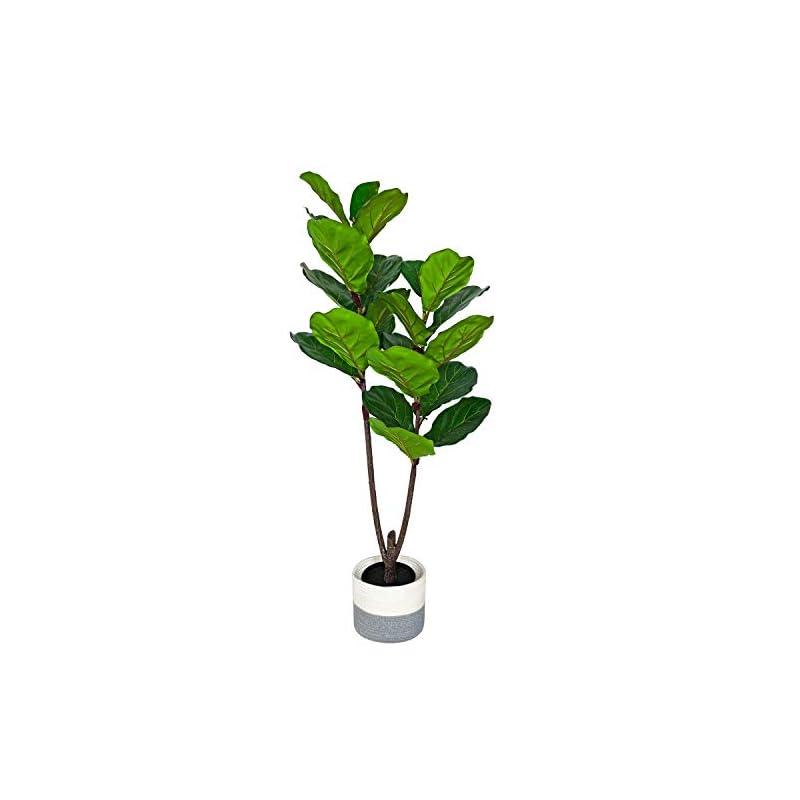 silk flower arrangements besamenature 4-feet artificial fiddle leaf fig tree/faux ficus lyrata for home office decoration, with cotton rope basket