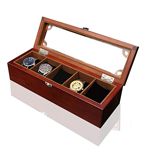 ZHAYEUK ZHAYEUK Holz Uhrenbox Uhrenkoffer 5 Uhren Einzel for Herren Damen, Groß Uhrenkasten männer Kasten Uhren Uhrenaufbewahrung for den Ehemann, (Brown, 34 x 12 x 9 cm)