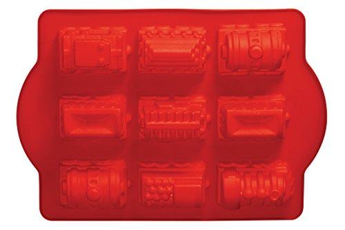 Premier Housewares Silikon-Backformen in Eisenbahnform, Antihaftwirkung, rot
