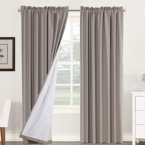 100% Blackout Curtains for Bedroom Window Treatment Curtain Thermal Insulated Curtains for Living Room Rod Pocket Drapes White Backing, 2 Panels with 2 Tie-Backs, 52 x 84 Inch, Taupe