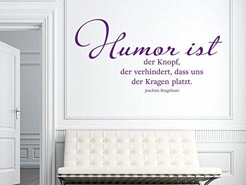 Klebeheld® Wandtattoo Humor ist der Knopf, der verhindert, DASS Uns der Kragen platzt. - Joachim Ringelnatz (Farbe türkis/Größe 80x40cm)