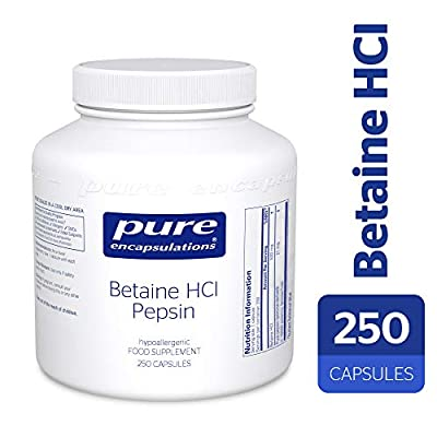 Pure Encapsulations - Betaine Hcl Pepsin - Acidic Betaine with Protein-Digesting Enzyme - 250 Capsules