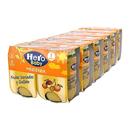 Hero Baby Merienda Tarritos de frutas variadas y galleta - Para niños a partir de los 6 meses - 6 Packs de 2x190gr