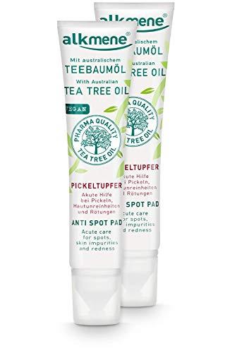 alkmene Teebaumöl SOS Anti Pickeltupfer - Akute Hilfe bei Pickel, Hautunreinheiten & Rötungen - vegane Gesichtspflege ohne Silikone, Parabene & Mineralöl im 2er Vorteilspack (2x 15 ml)